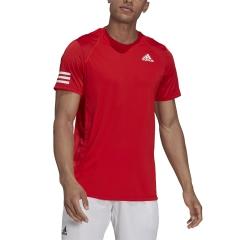 adidas Club 3 Stripes T-Shirt - Vivid Red/White