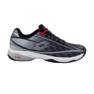 Men's Padel Shoes Lotto Mirage 300 Clay  All Black/All White/Flame Red 2107335T4