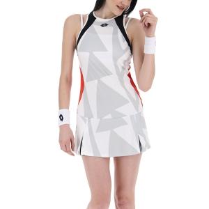 Women's Padel Dress Lotto Top Ten III Dress  Bright White/Flame Red 2154310FB