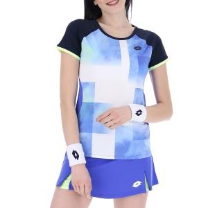 Women's Padel T-Shirt and Polo Lotto Top Ten III TShirt  Amparo Blue/Navy Blue 2154238FT
