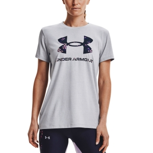 Women's Padel T-Shirt and Polo Under Armour Sportstyle Graphic TShirt  Mod Gray Light Heather/Midnight Navy 13563050017